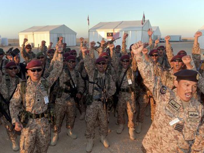 Военнослужащие малайзийского контингента в Саудовской Аравии, 2017 год.