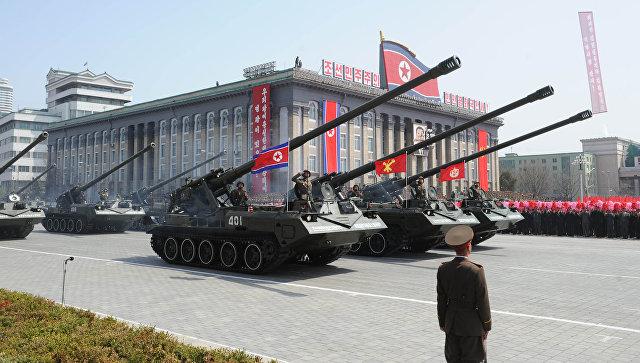 Военный парад в Пхеньяне.