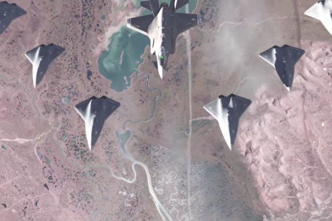 Воздушный бой будущего - группа ударных беспилотников под управлением истребителя F-35.