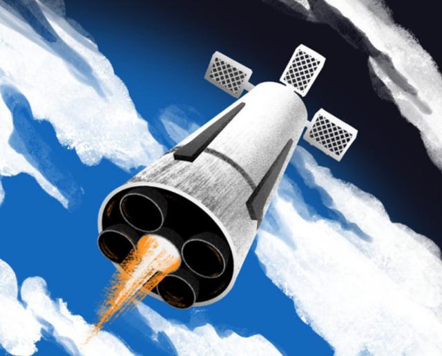 Возвращение многоразовой первой ступени будущей ракеты в представлении художника