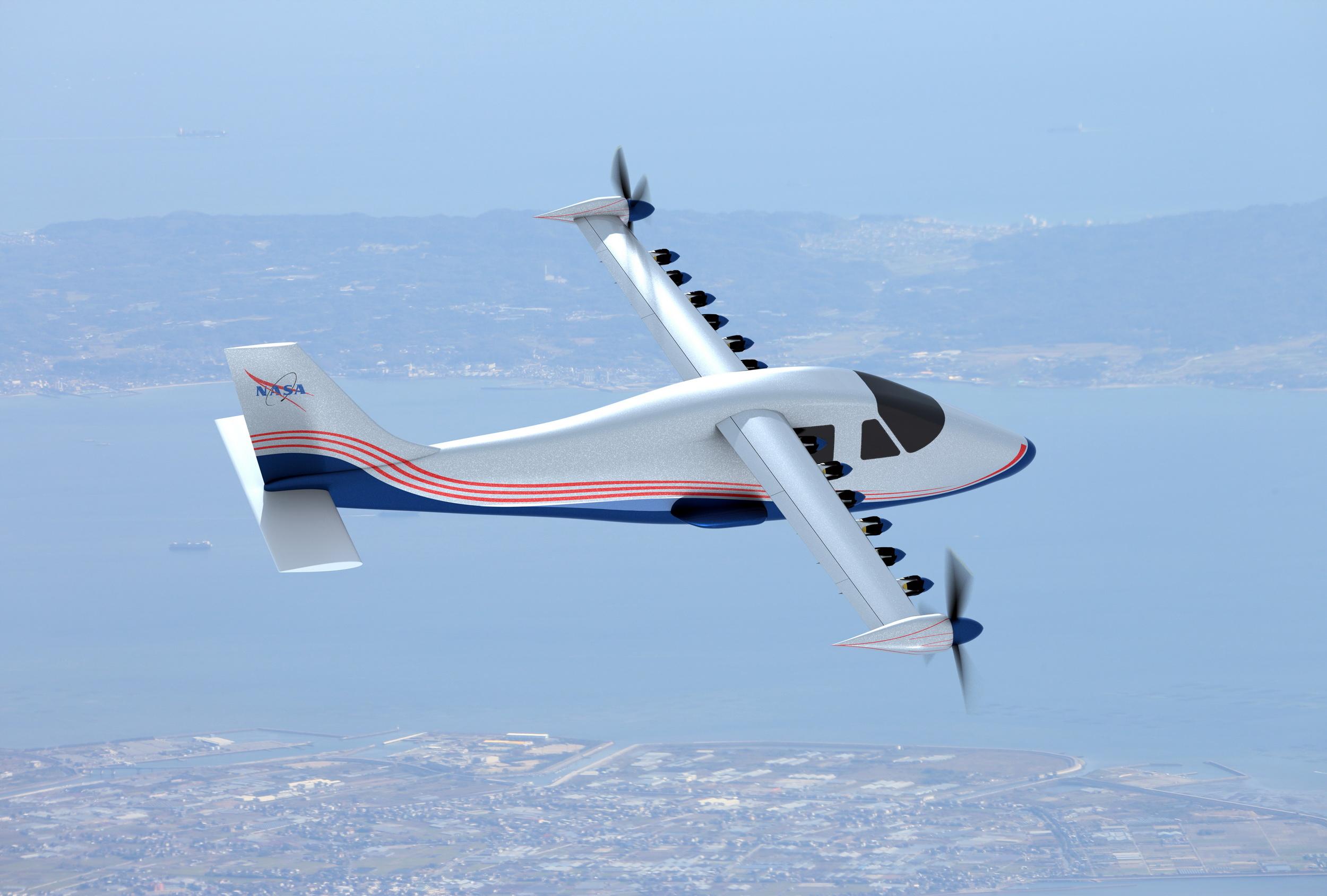 Изображение электрического самолета X-57, известного как Maxwell.