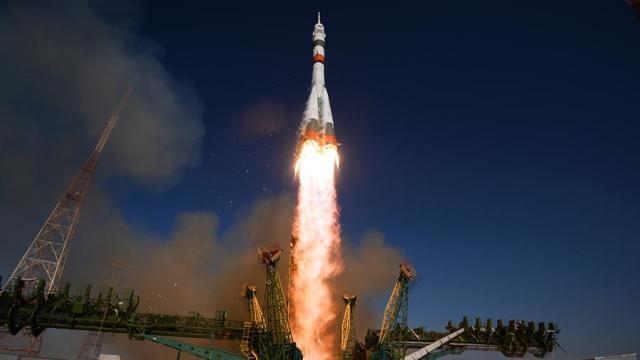 Запуск ракеты-носителя «Союз-2.1» с пилотируемым кораблем «Союз МС-14» со стартовой площадки космодрома Байконур
