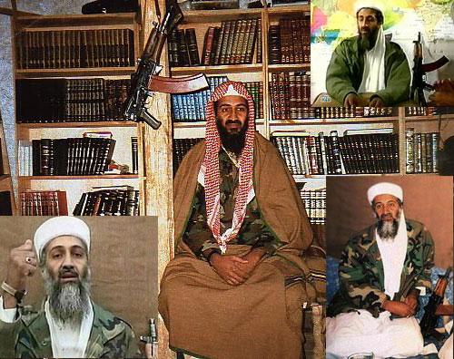 Бен Ладен на фоне АК
